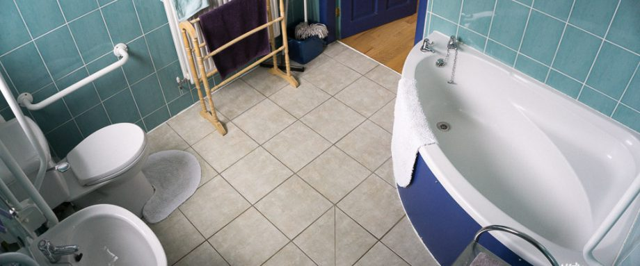 Bathroom with a corner bath, high toilet, grab rails, and wet room shower