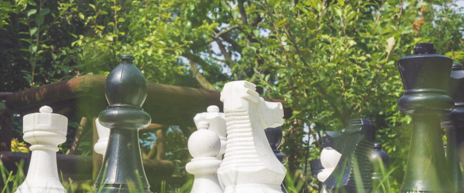 A picture of a large outdoor chess set.